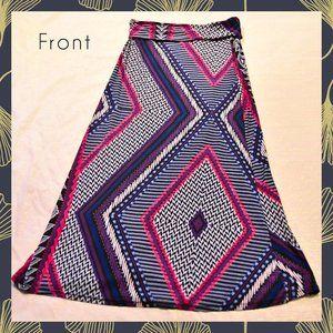 Hot Kiss Boho Tribal Print Maxi Skirt